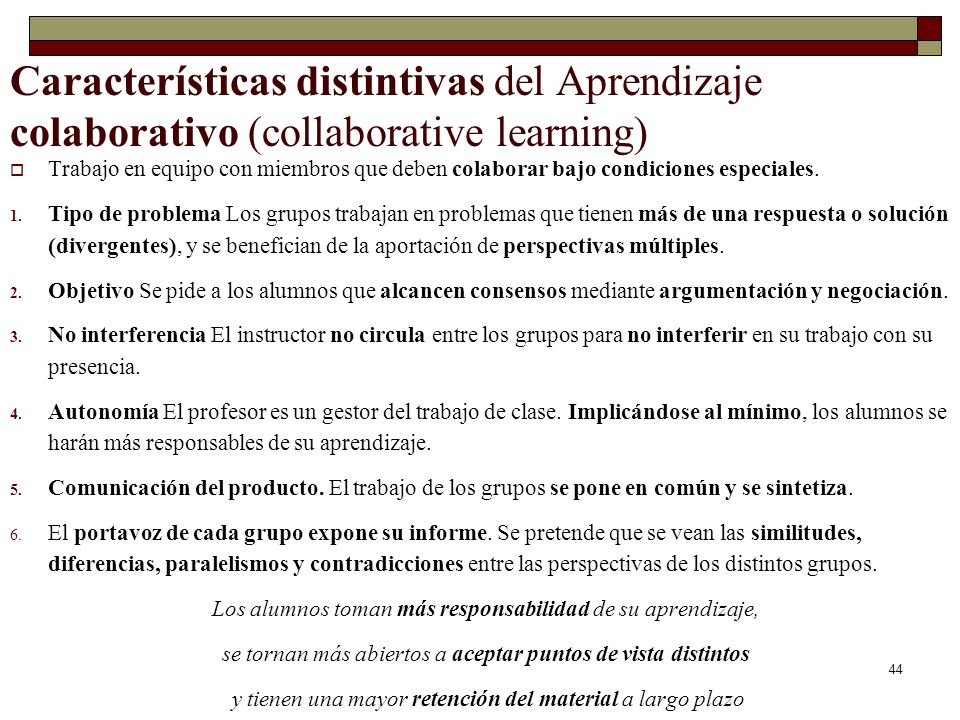 Características distintivas del Aprendizaje colaborativo (collaborative learning)