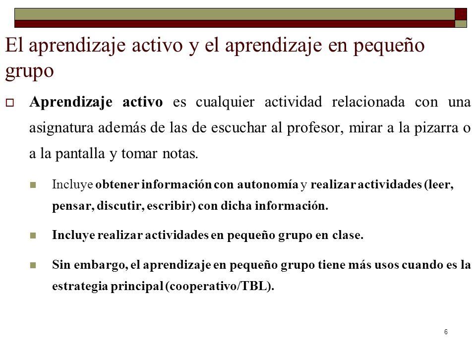 El aprendizaje activo y el aprendizaje en pequeño grupo