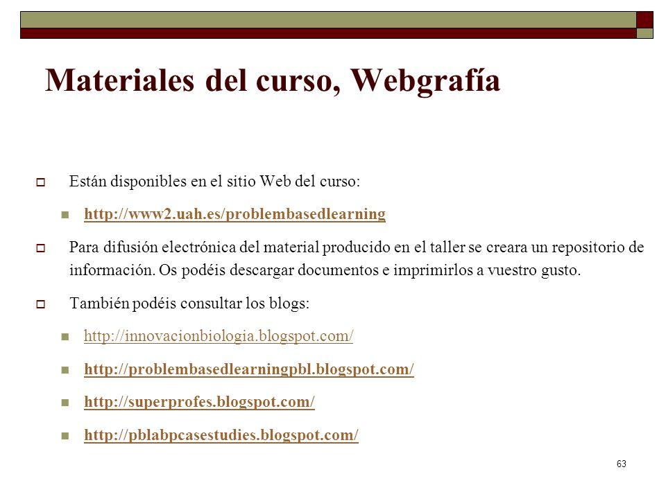 Materiales del curso, Webgrafía
