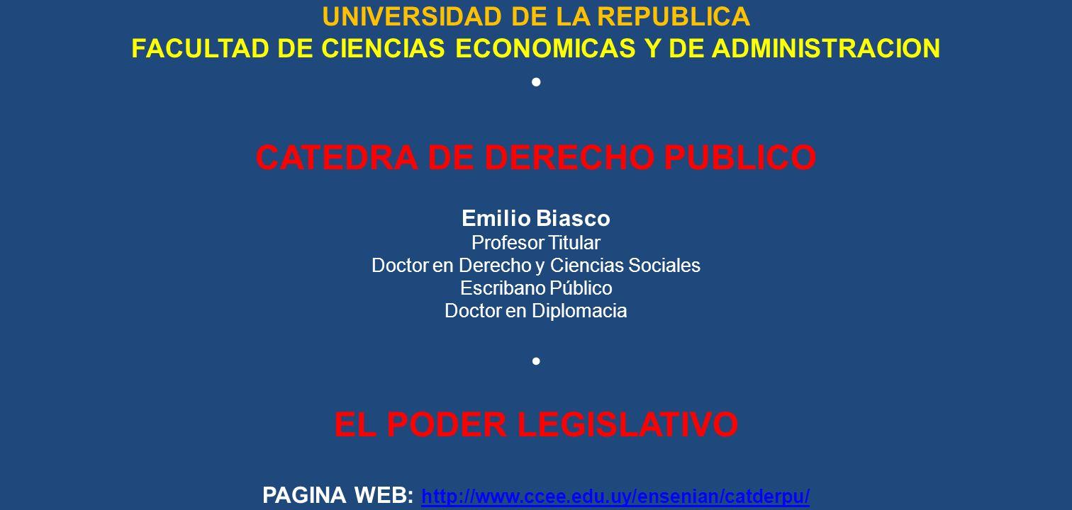 CATEDRA DE DERECHO PUBLICO EL PODER LEGISLATIVO