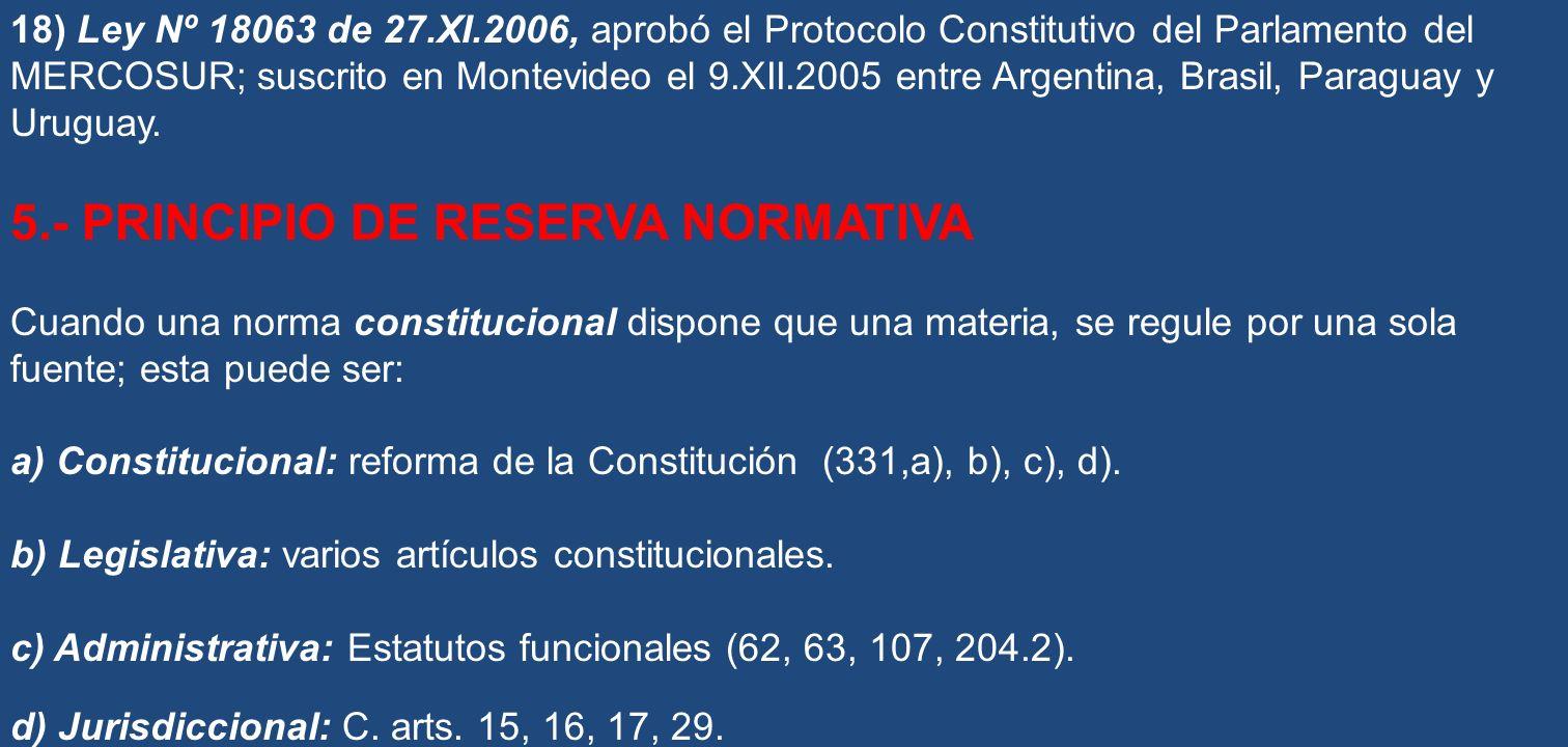 5.- PRINCIPIO DE RESERVA NORMATIVA
