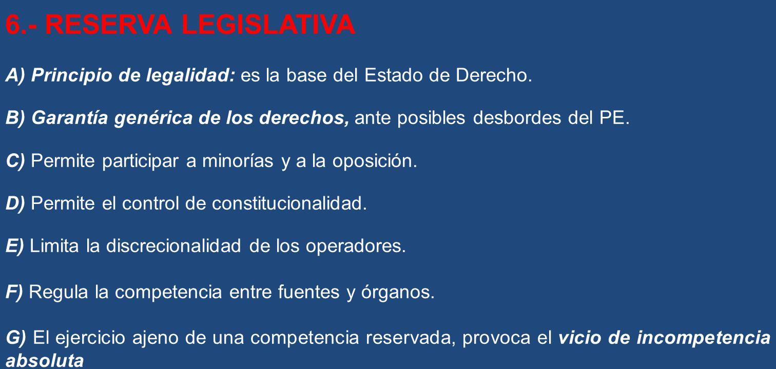 6.- RESERVA LEGISLATIVA A) Principio de legalidad: es la base del Estado de Derecho.