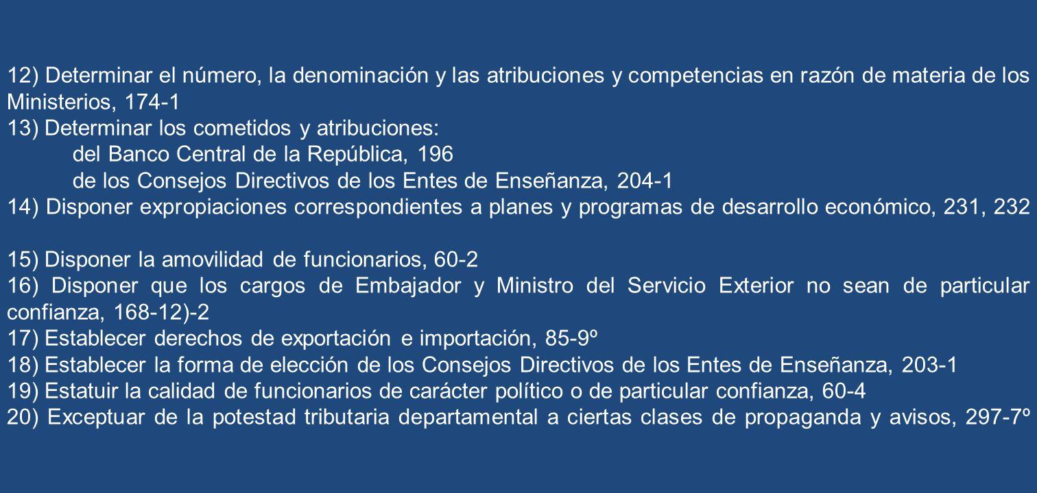 12) Determinar el número, la denominación y las atribuciones y competencias en razón de materia de los Ministerios, 174-1