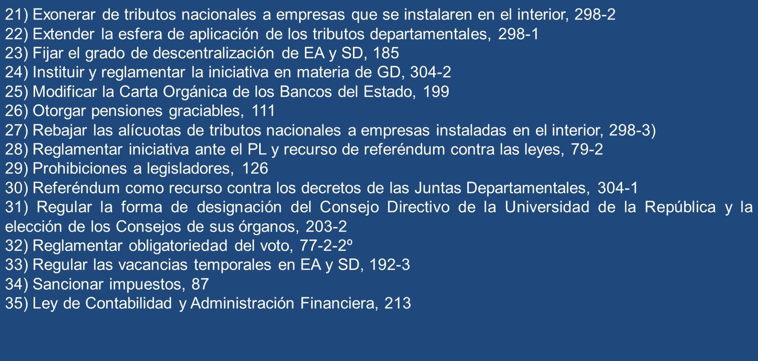 21) Exonerar de tributos nacionales a empresas que se instalaren en el interior, 298-2