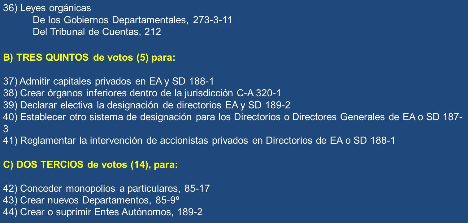 36) Leyes orgánicas De los Gobiernos Departamentales, 273-3-11. Del Tribunal de Cuentas, 212. B) TRES QUINTOS de votos (5) para: