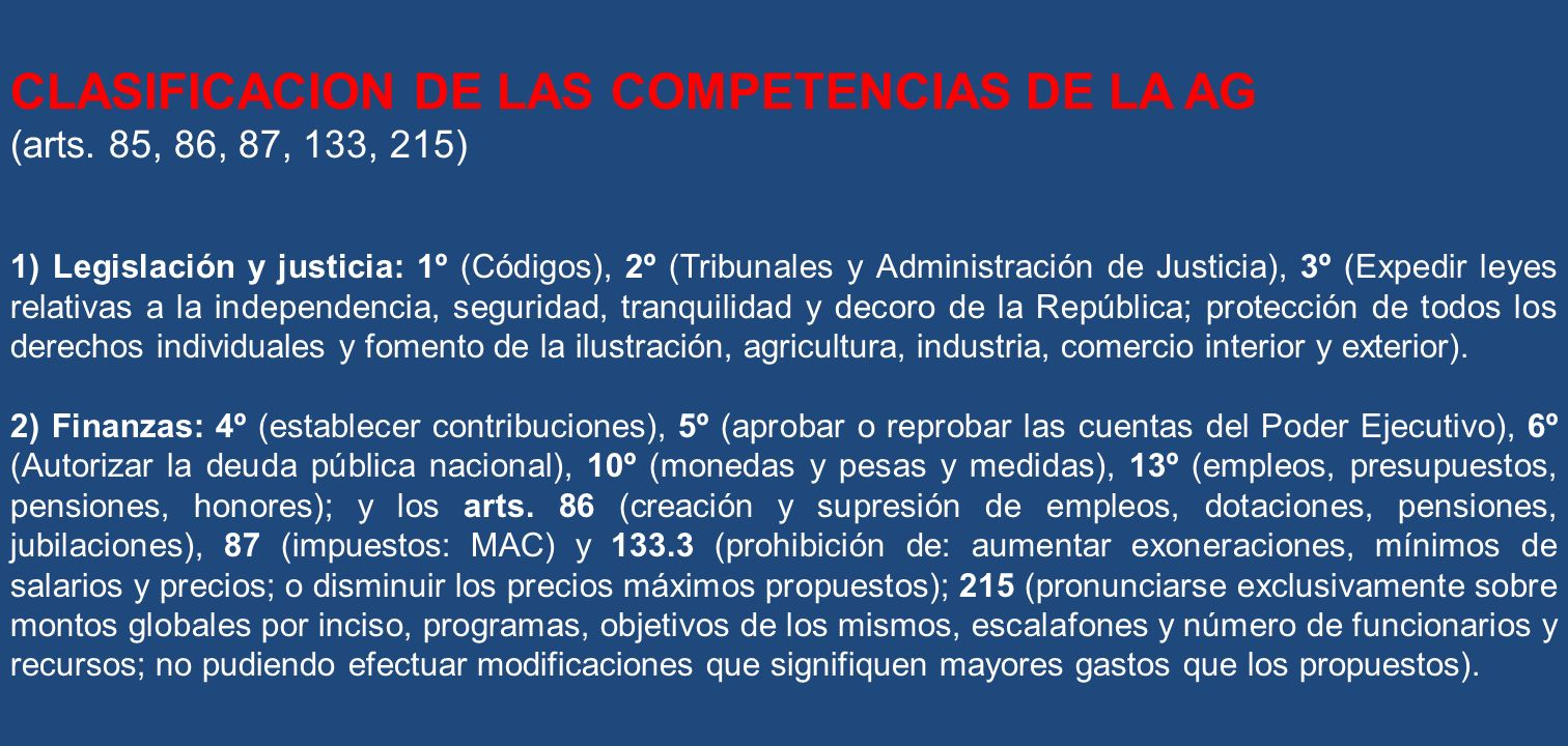 CLASIFICACION DE LAS COMPETENCIAS DE LA AG