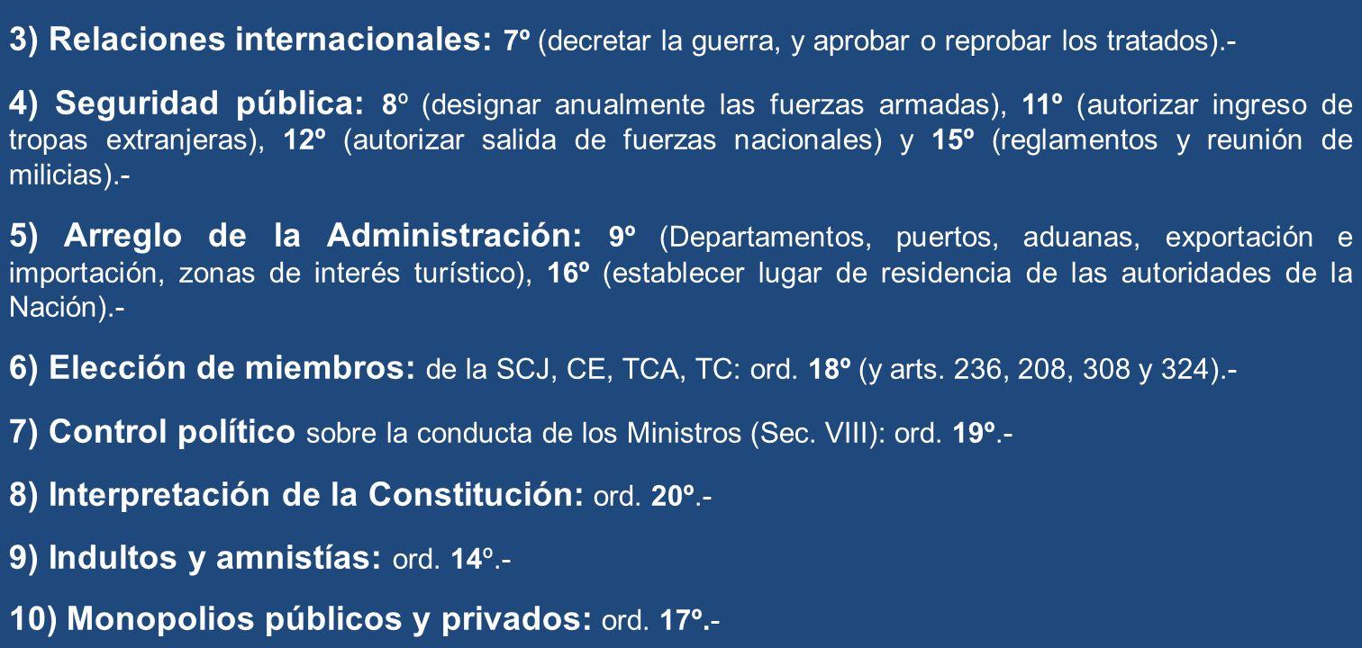 3) Relaciones internacionales: 7º (decretar la guerra, y aprobar o reprobar los tratados).-