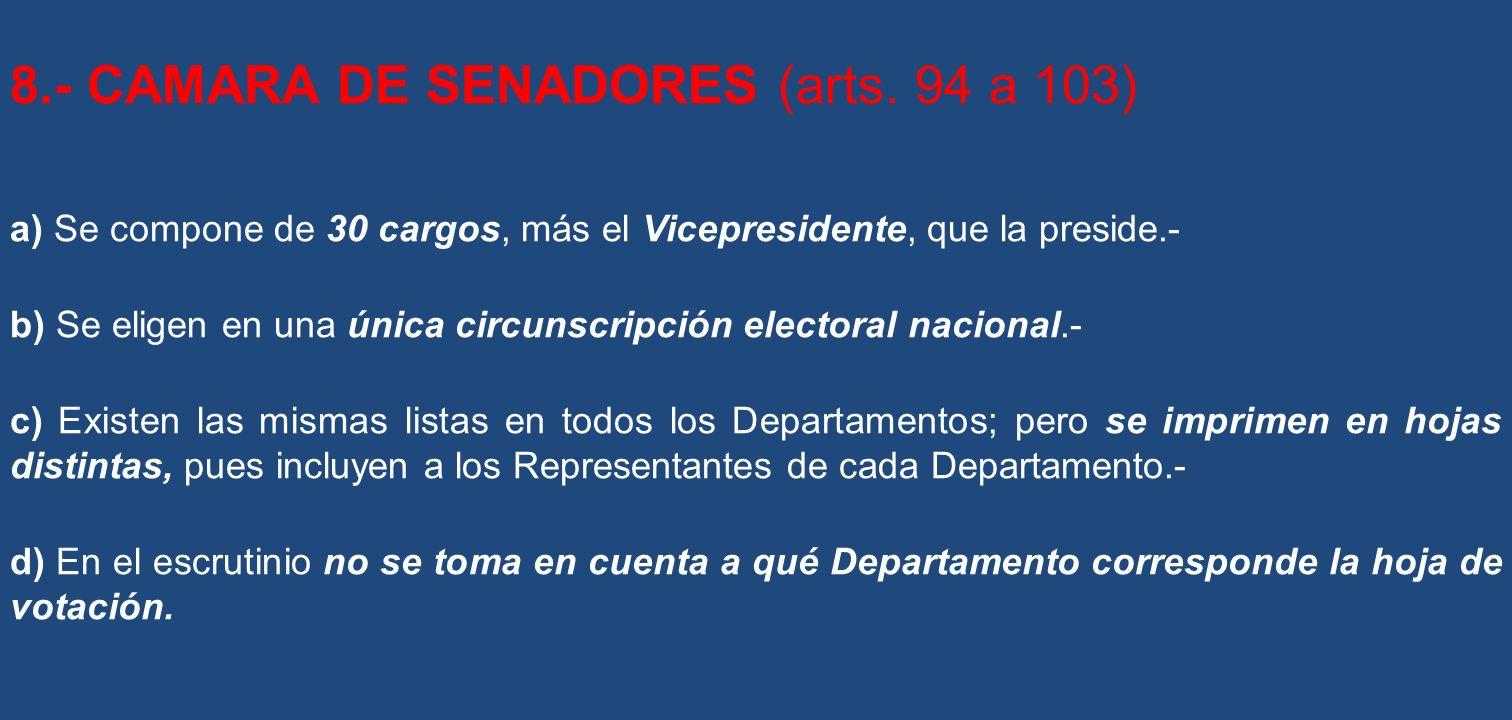 8.- CAMARA DE SENADORES (arts. 94 a 103)
