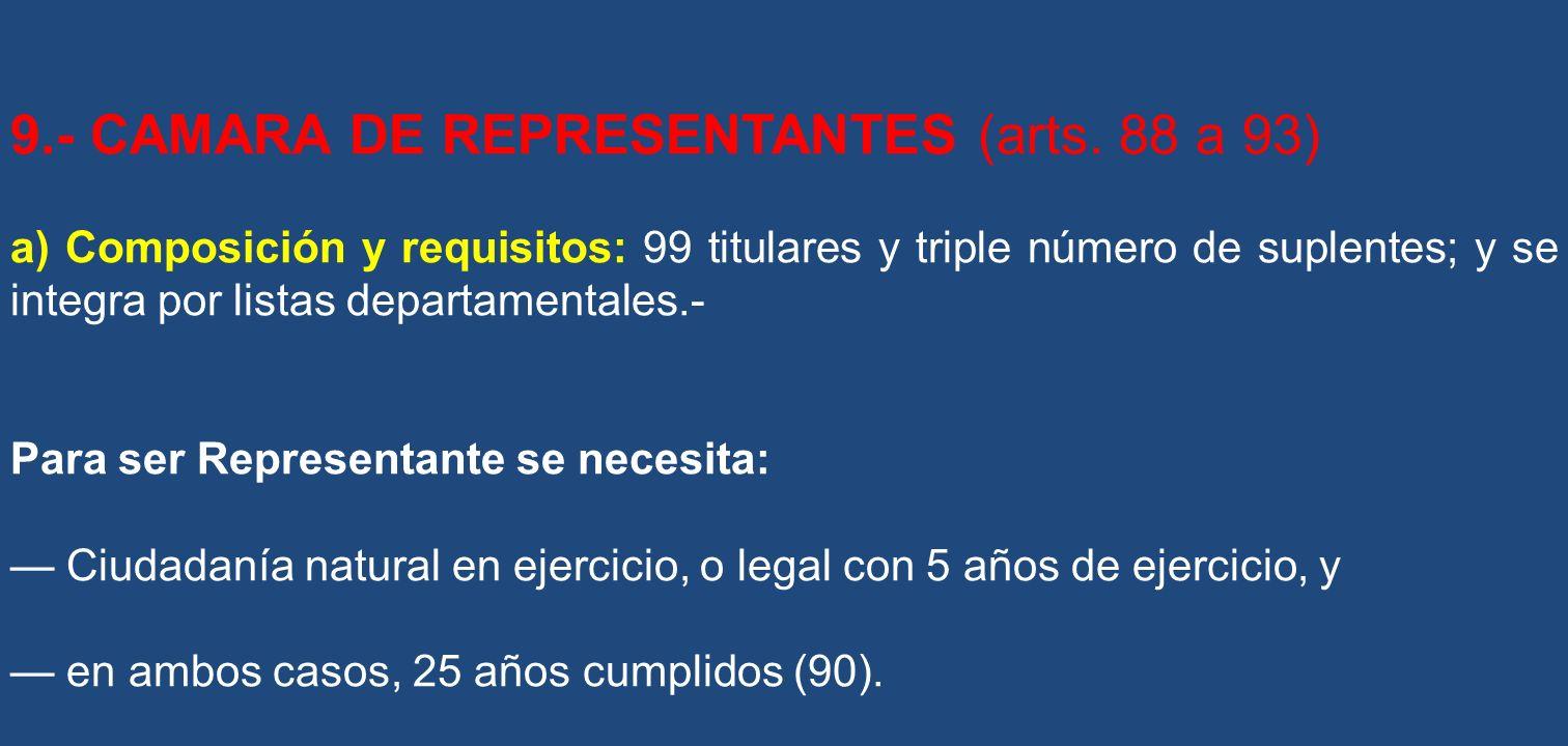 9.- CAMARA DE REPRESENTANTES (arts. 88 a 93)