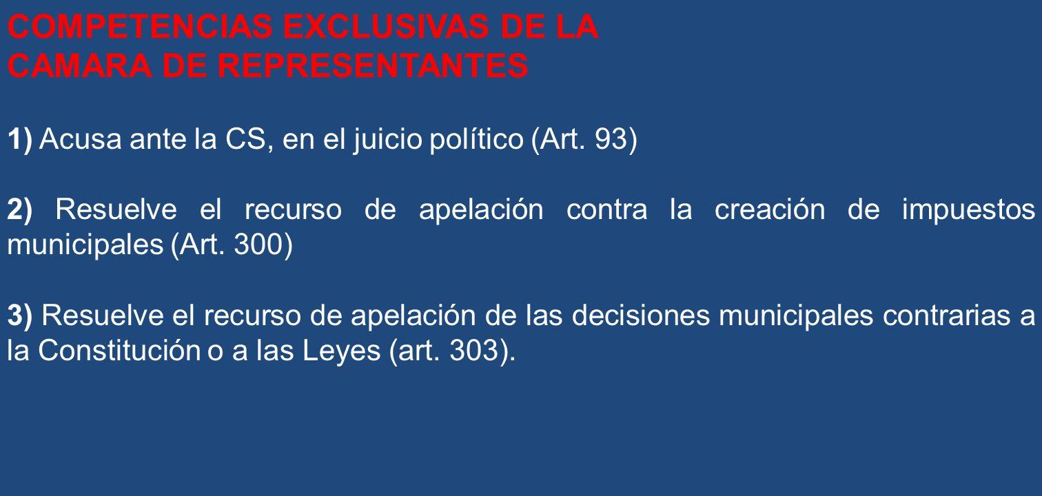 COMPETENCIAS EXCLUSIVAS DE LA CAMARA DE REPRESENTANTES