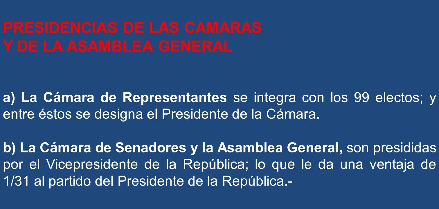 PRESIDENCIAS DE LAS CAMARAS Y DE LA ASAMBLEA GENERAL