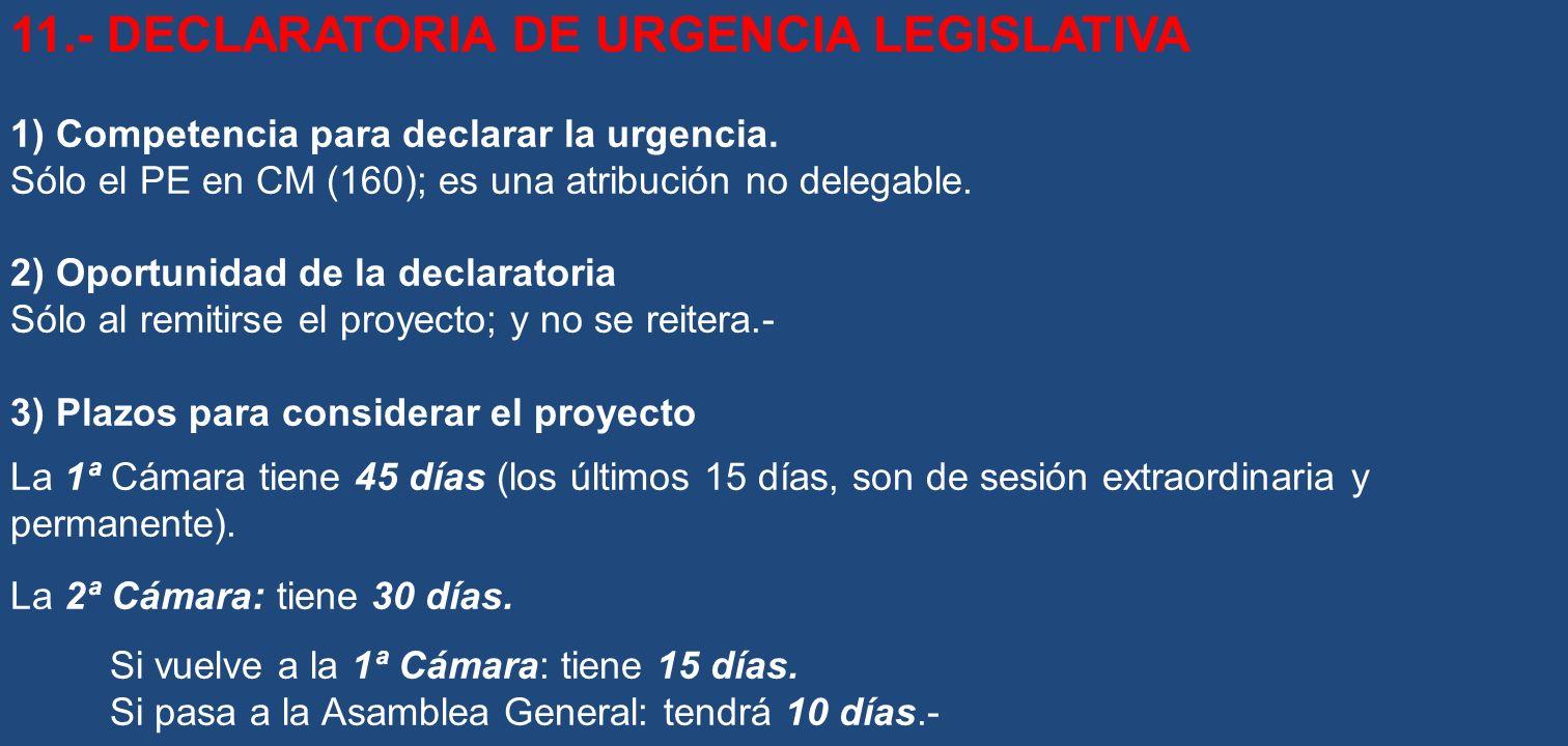 11.- DECLARATORIA DE URGENCIA LEGISLATIVA
