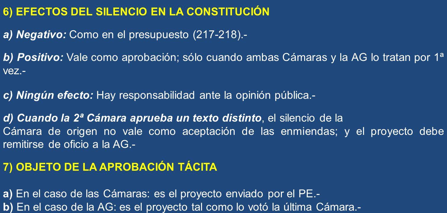 6) EFECTOS DEL SILENCIO EN LA CONSTITUCIÓN
