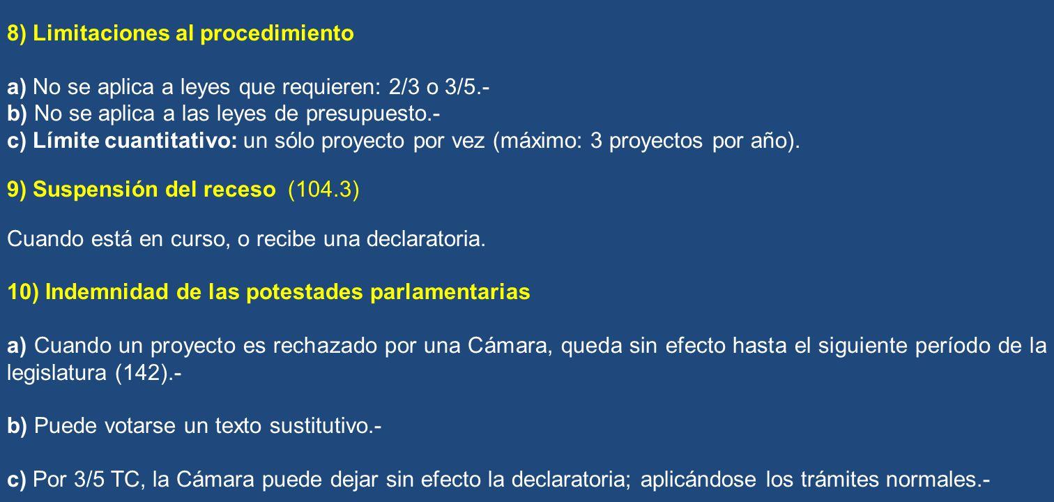 8) Limitaciones al procedimiento
