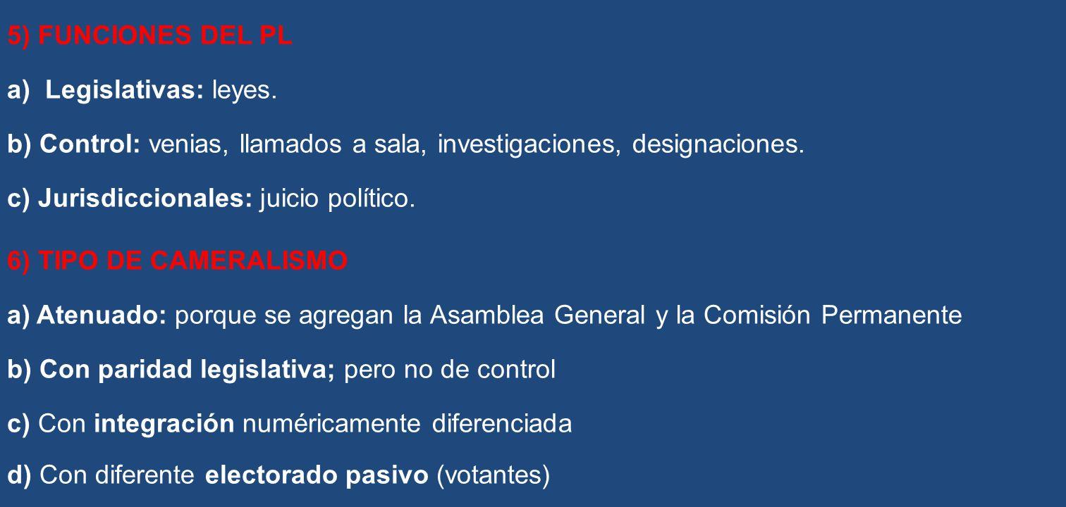 5) FUNCIONES DEL PL Legislativas: leyes. b) Control: venias, llamados a sala, investigaciones, designaciones.