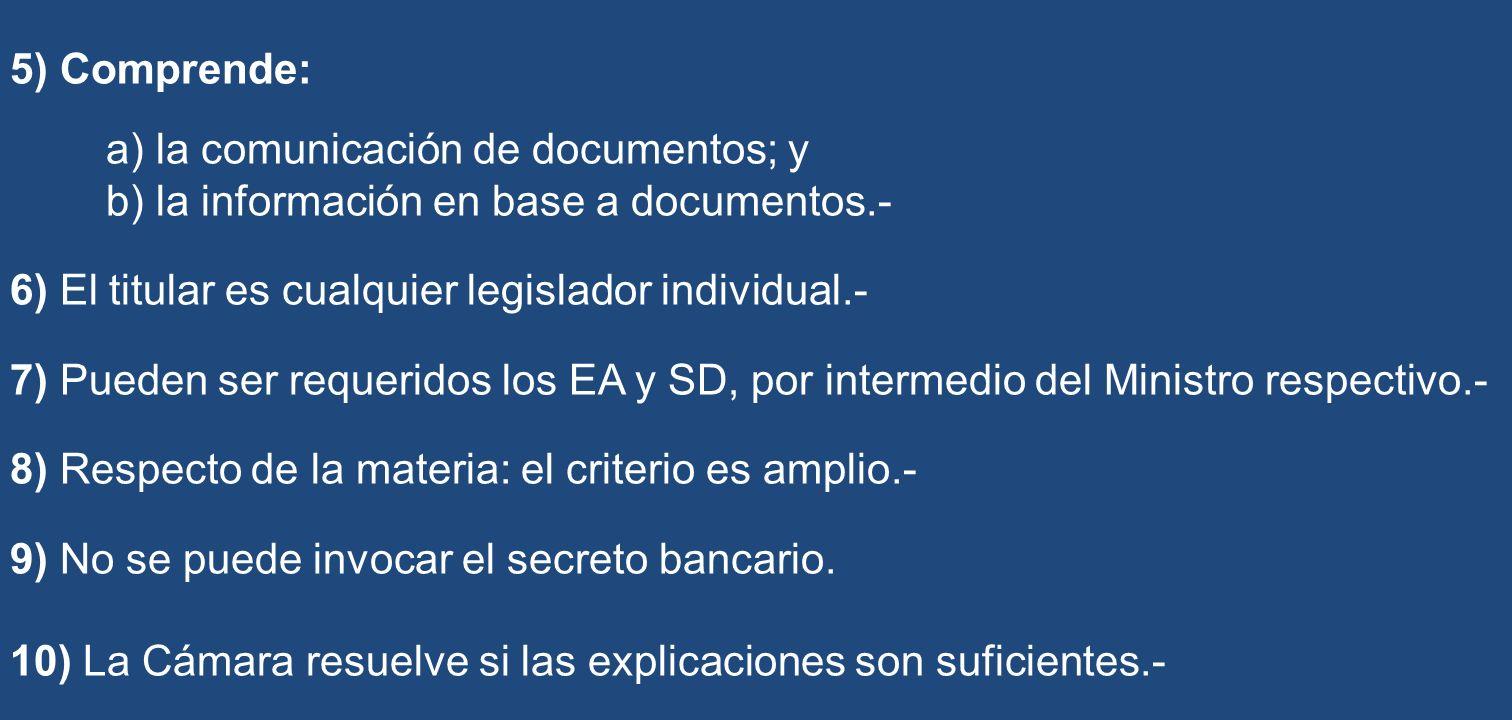 5) Comprende: a) la comunicación de documentos; y. b) la información en base a documentos.- 6) El titular es cualquier legislador individual.-