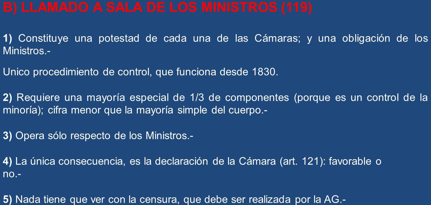 B) LLAMADO A SALA DE LOS MINISTROS (119)