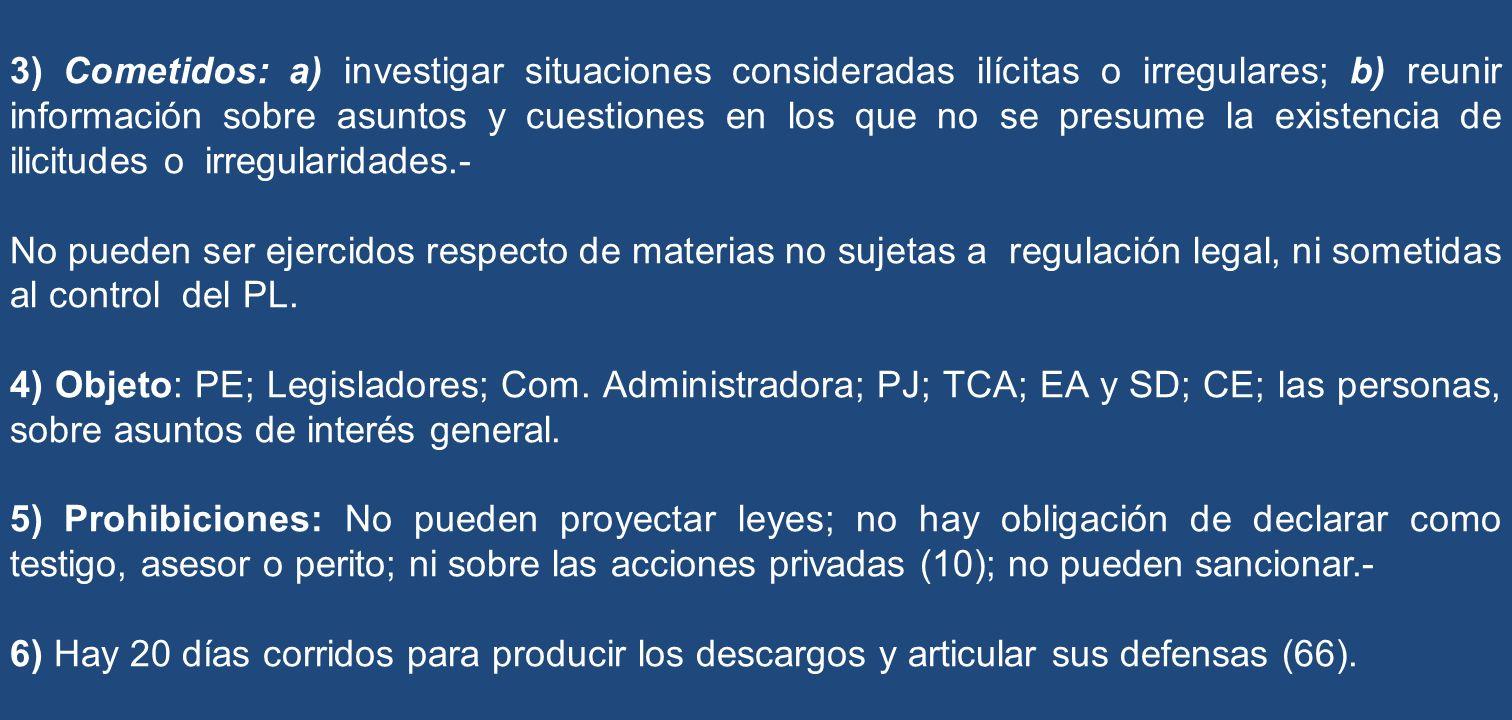 3) Cometidos: a) investigar situaciones consideradas ilícitas o irregulares; b) reunir información sobre asuntos y cuestiones en los que no se presume la existencia de ilicitudes o irregularidades.-
