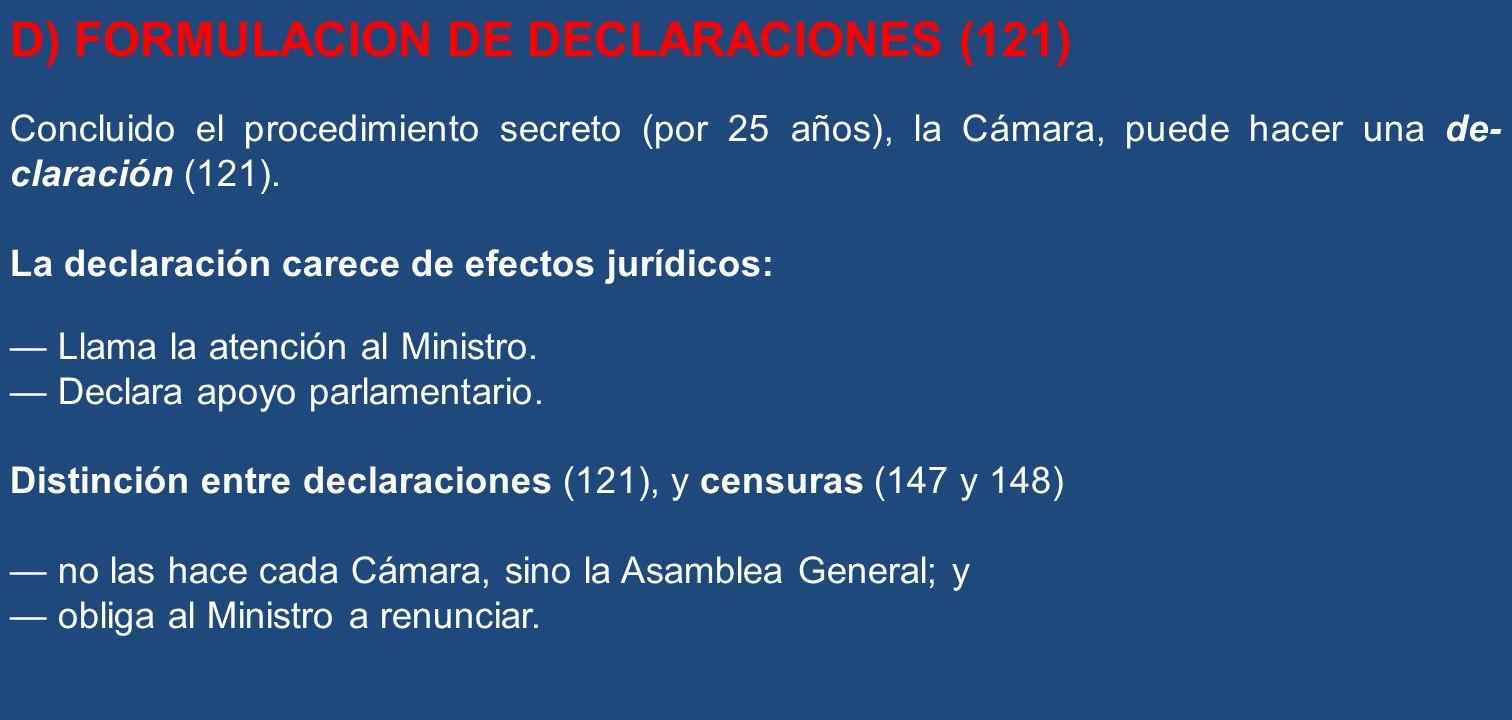 D) FORMULACION DE DECLARACIONES (121)