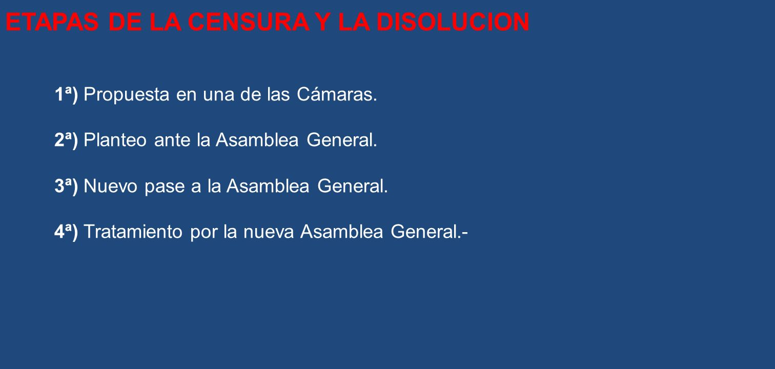 ETAPAS DE LA CENSURA Y LA DISOLUCION
