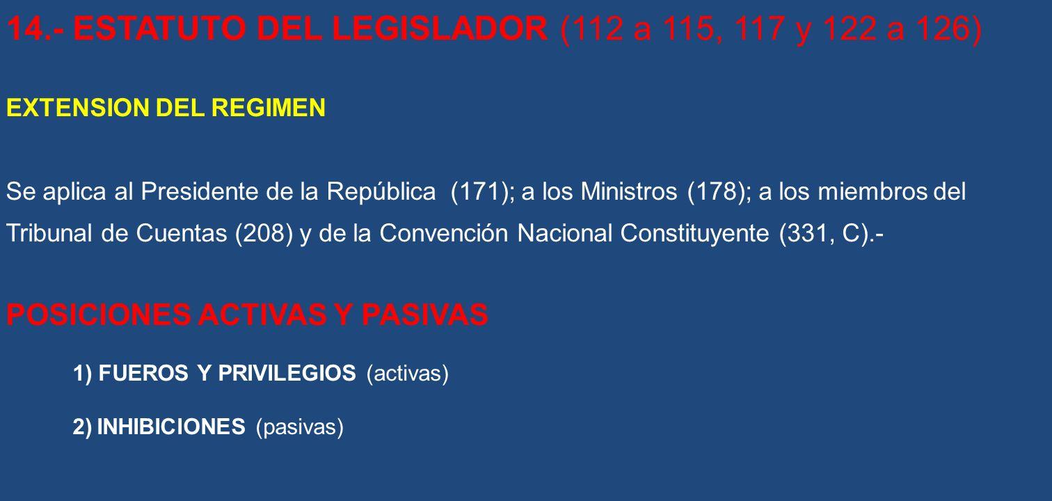 14.- ESTATUTO DEL LEGISLADOR (112 a 115, 117 y 122 a 126)