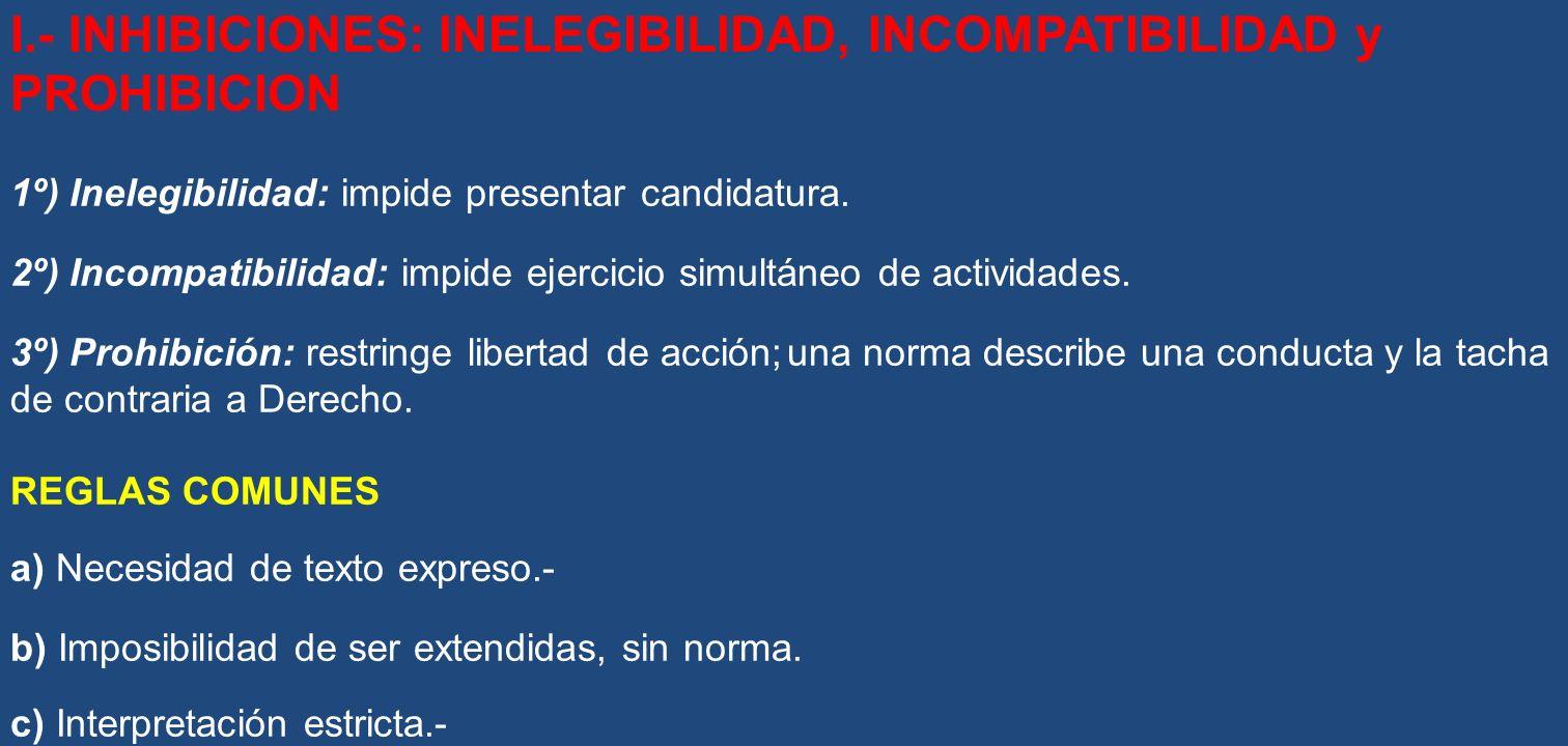 I.- INHIBICIONES: INELEGIBILIDAD, INCOMPATIBILIDAD y PROHIBICION
