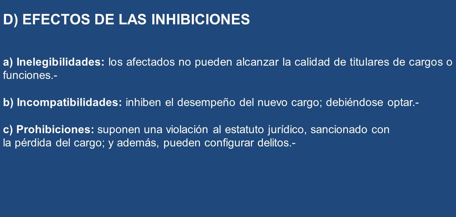 D) EFECTOS DE LAS INHIBICIONES