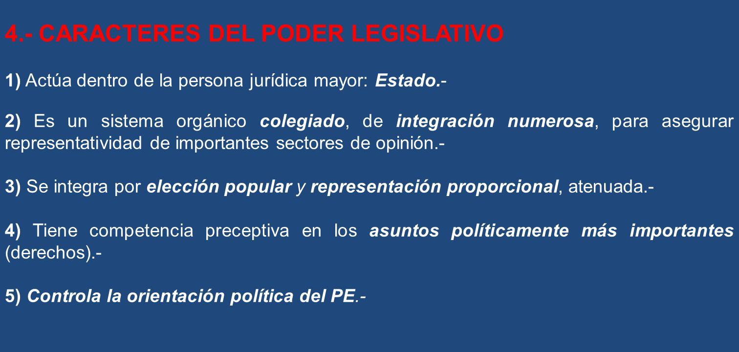 4.- CARACTERES DEL PODER LEGISLATIVO