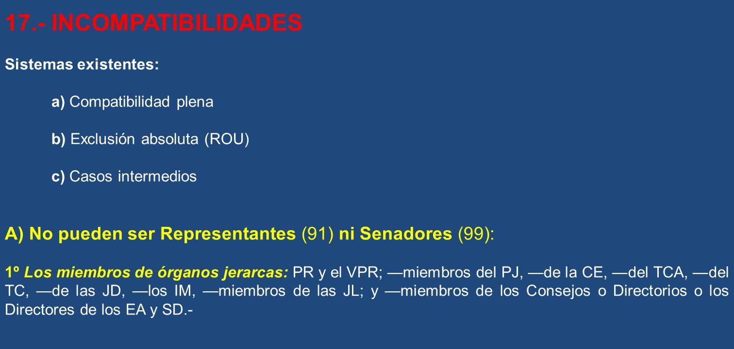 17.- INCOMPATIBILIDADES Sistemas existentes: a) Compatibilidad plena. b) Exclusión absoluta (ROU)