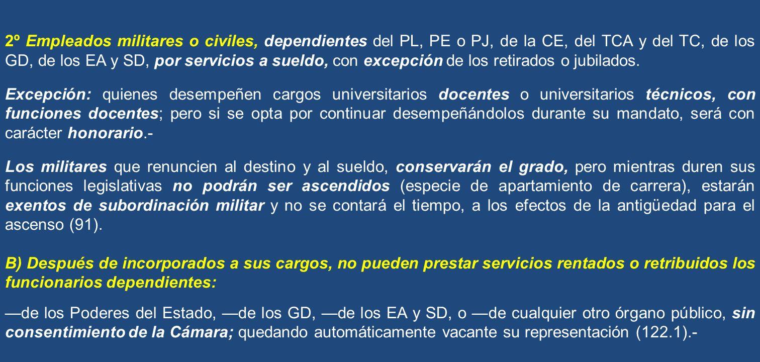 2º Empleados militares o civiles, dependientes del PL, PE o PJ, de la CE, del TCA y del TC, de los GD, de los EA y SD, por servicios a sueldo, con excepción de los retirados o jubilados.