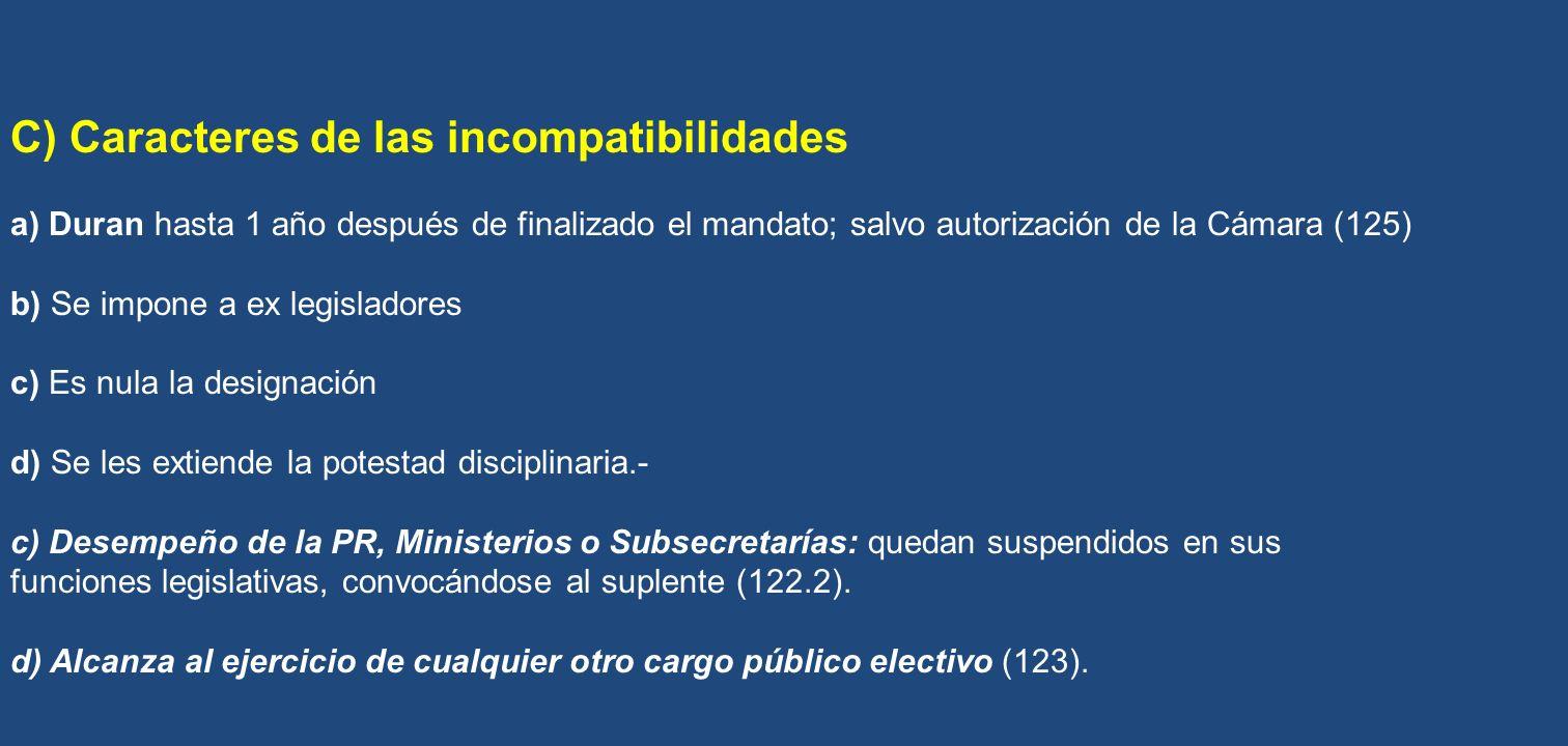 C) Caracteres de las incompatibilidades
