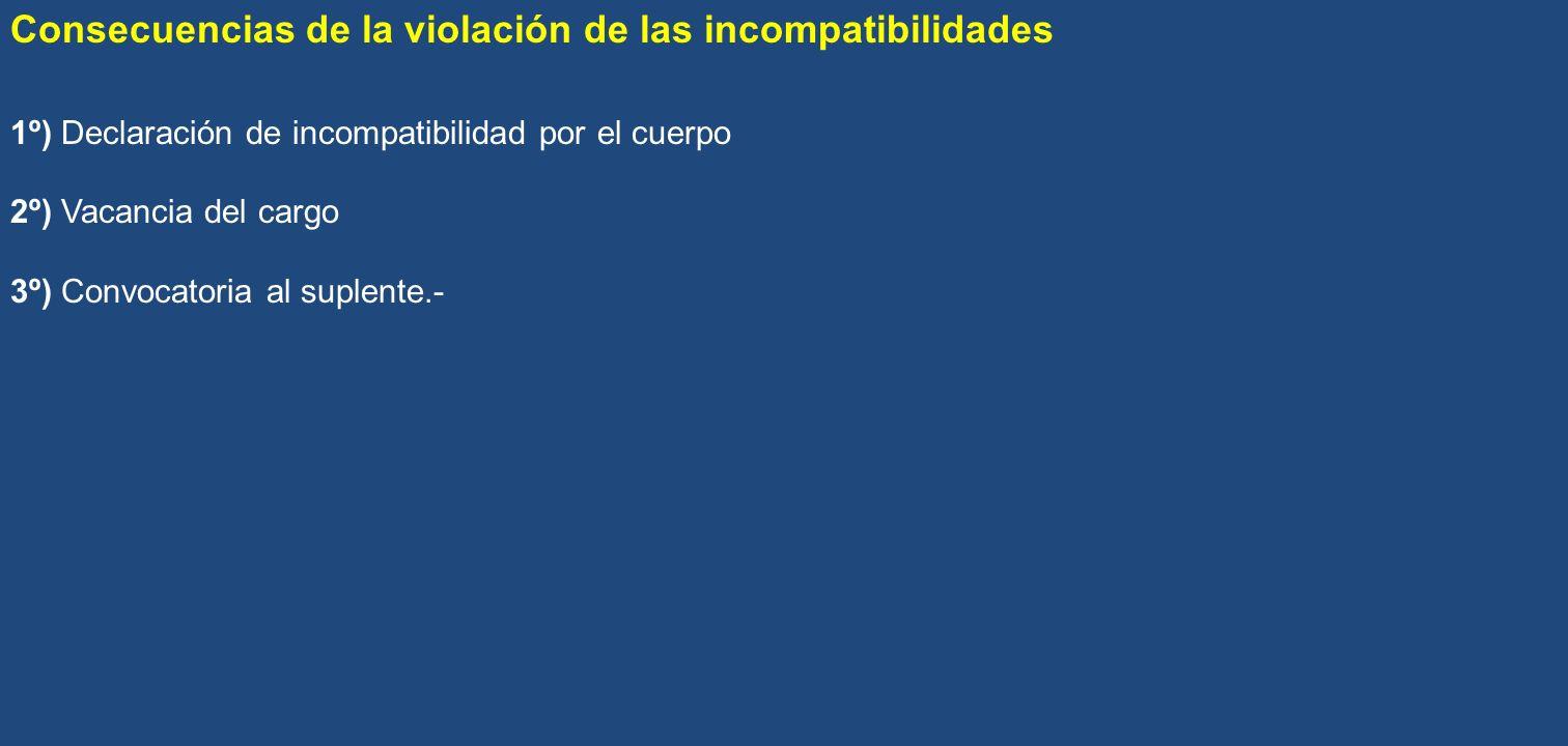 Consecuencias de la violación de las incompatibilidades