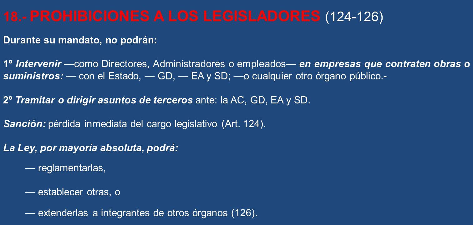 18.- PROHIBICIONES A LOS LEGISLADORES (124-126)