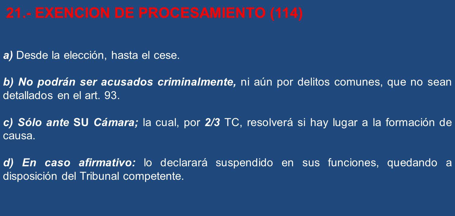 21.- EXENCION DE PROCESAMIENTO (114)