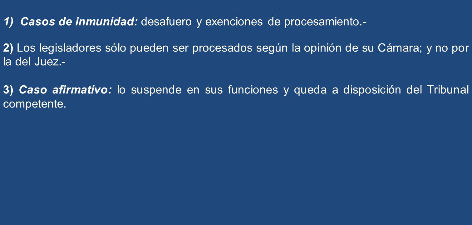 Casos de inmunidad: desafuero y exenciones de procesamiento.-