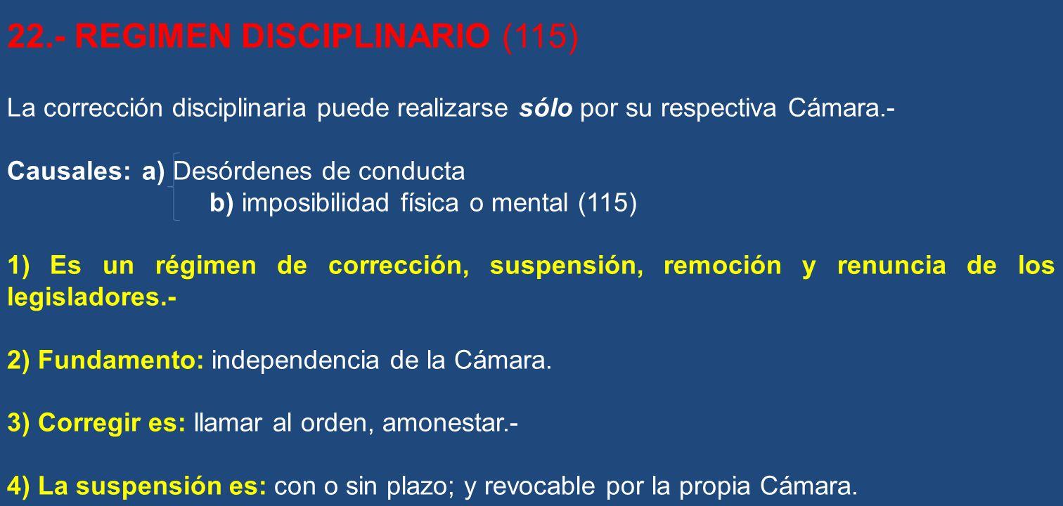 22.- REGIMEN DISCIPLINARIO (115)