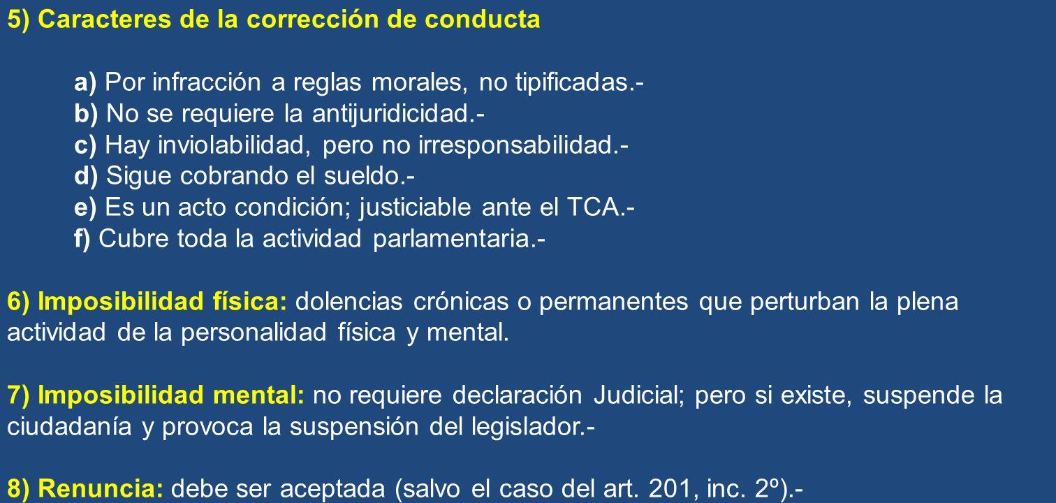 5) Caracteres de la corrección de conducta