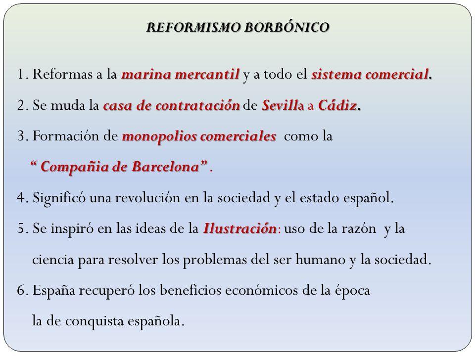 1. Reformas a la marina mercantil y a todo el sistema comercial.