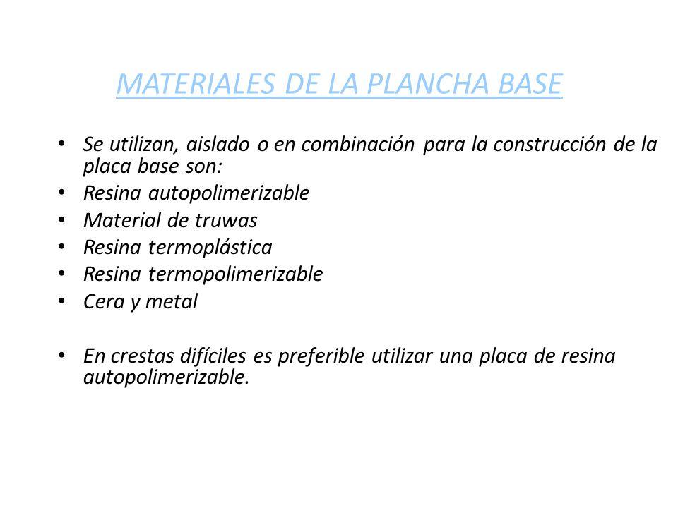 MATERIALES DE LA PLANCHA BASE