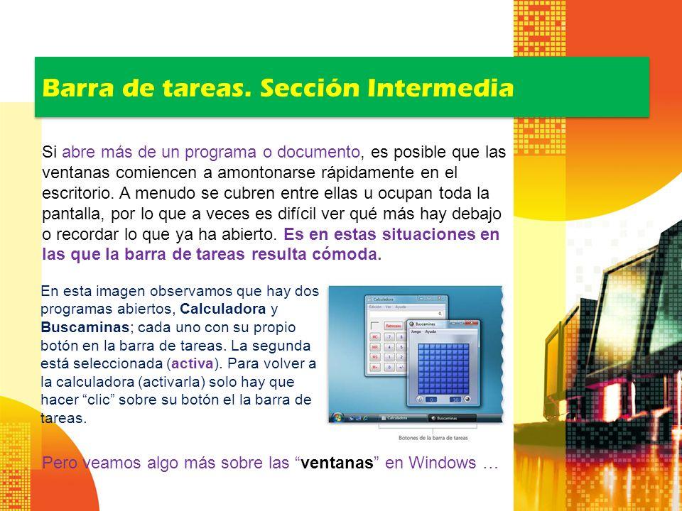 Barra de tareas. Sección Intermedia
