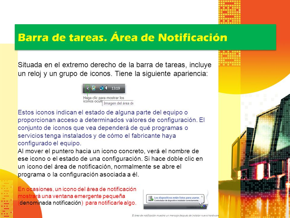 Barra de tareas. Área de Notificación