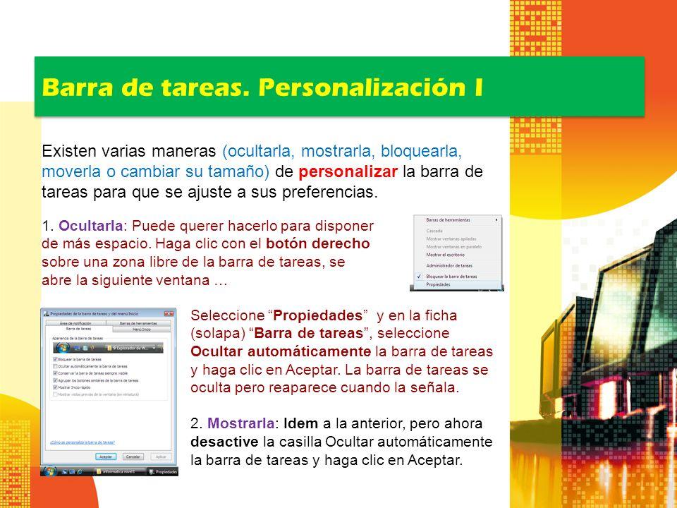 Barra de tareas. Personalización I