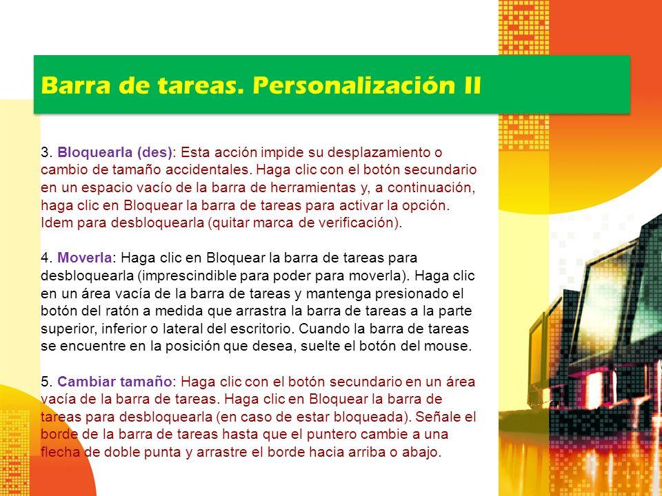 Barra de tareas. Personalización II