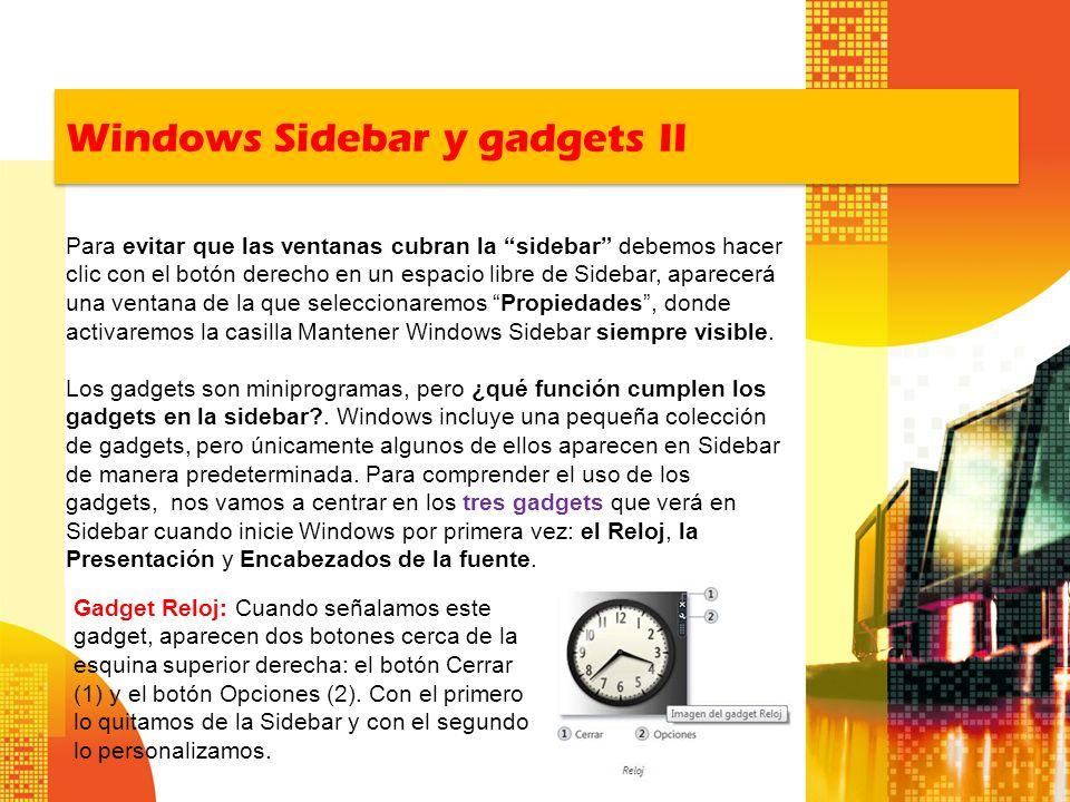 Windows Sidebar y gadgets II