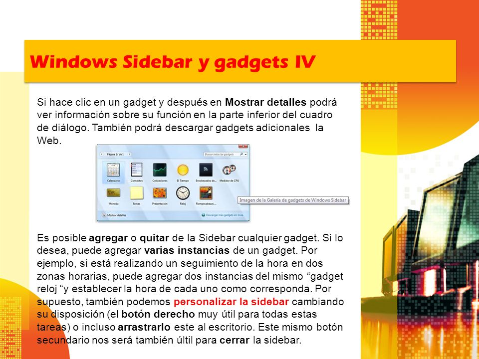 Windows Sidebar y gadgets IV