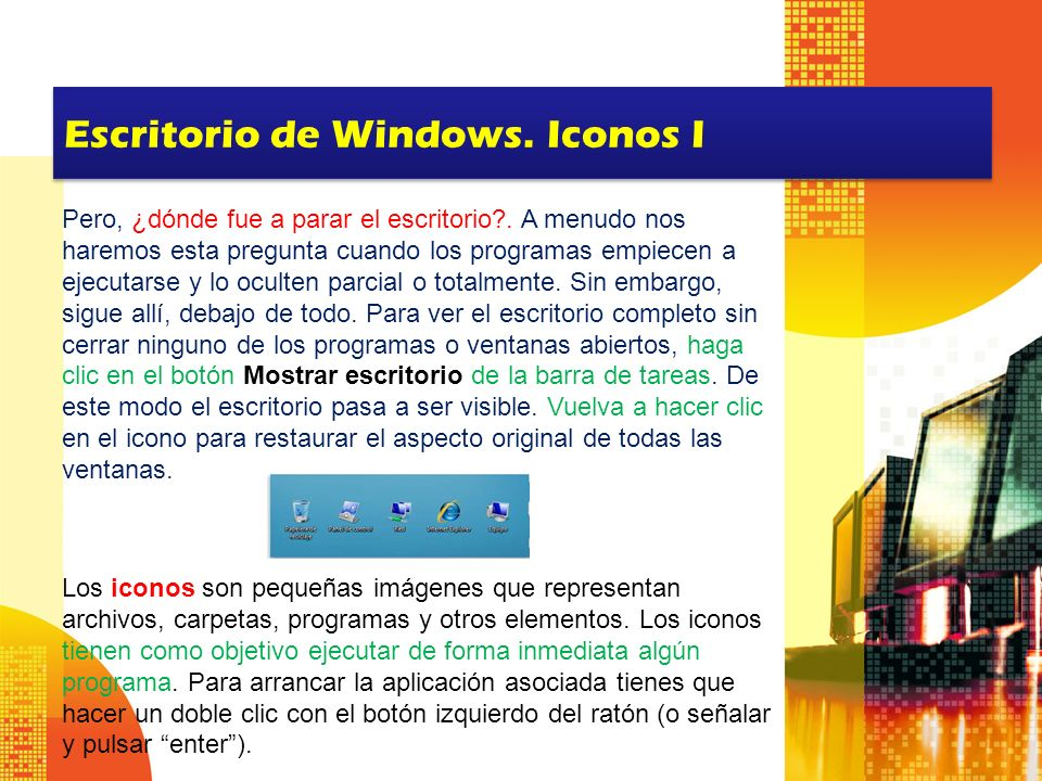 Escritorio de Windows. Iconos I