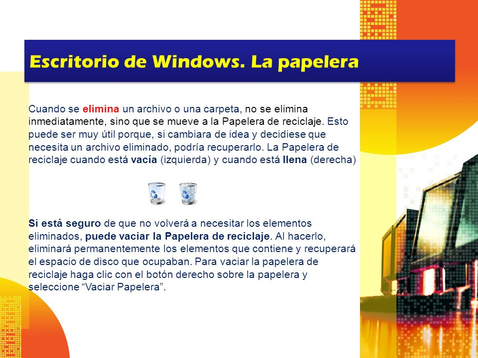 Escritorio de Windows. La papelera