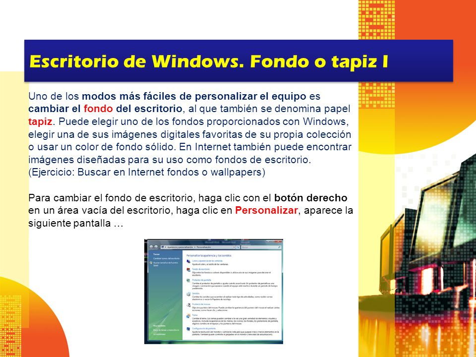 Escritorio de Windows. Fondo o tapiz I