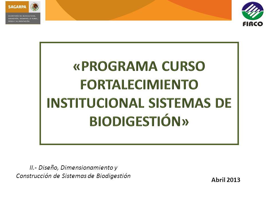 «PROGRAMA CURSO FORTALECIMIENTO INSTITUCIONAL SISTEMAS DE BIODIGESTIÓN»