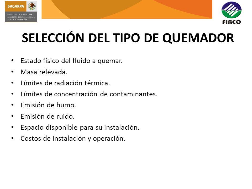SELECCIÓN DEL TIPO DE QUEMADOR